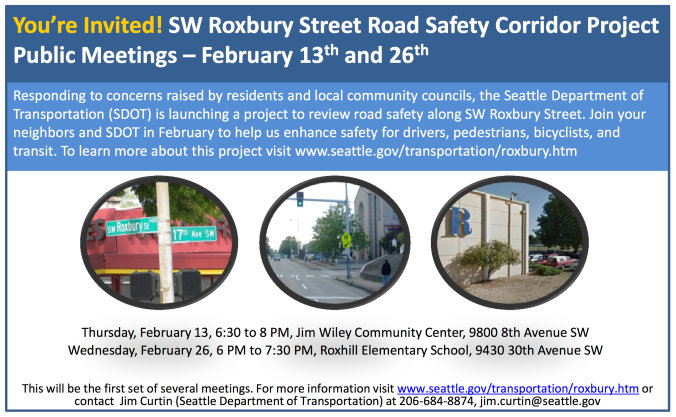 Announcement from SDOT, coming soon to our area as postcards in the mail.