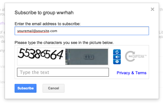 Enter your e-mail address and fill out the CAPTCHA test.